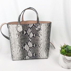 NWT Snakeskin Leather Tote Bag